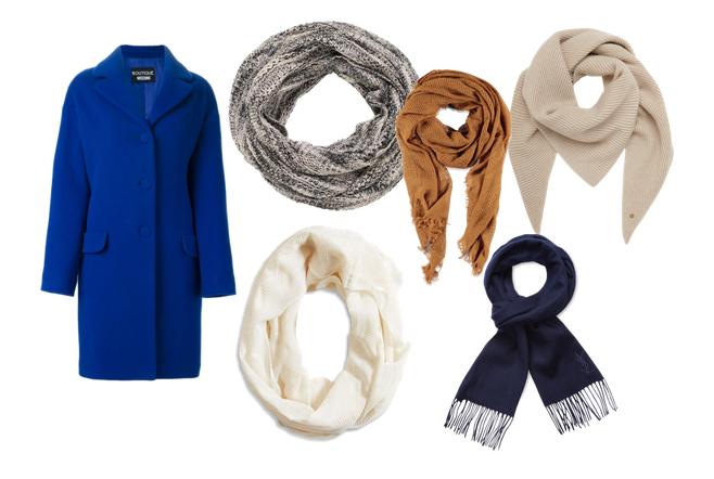 шарф к синему пальто