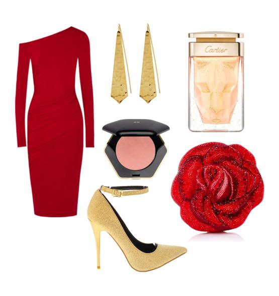 модные сеты на новый год 2016 - красный и золотистый