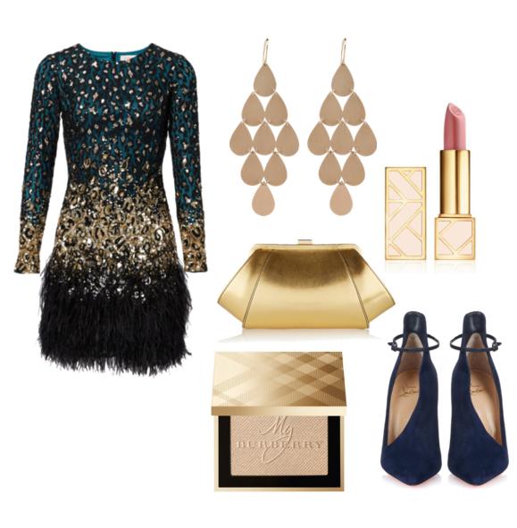 модные сеты на новый год 2016 - синий и золотой