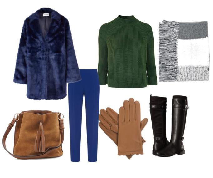 модные сеты зима 2016, свитер и шуба