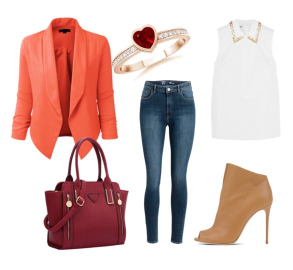 модные сеты весна 2016 джинсы и красный пиджак