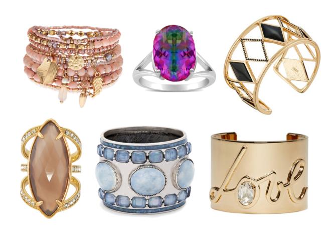 модная бижутерия весна лето 2016 - крупные браслеты и кольца