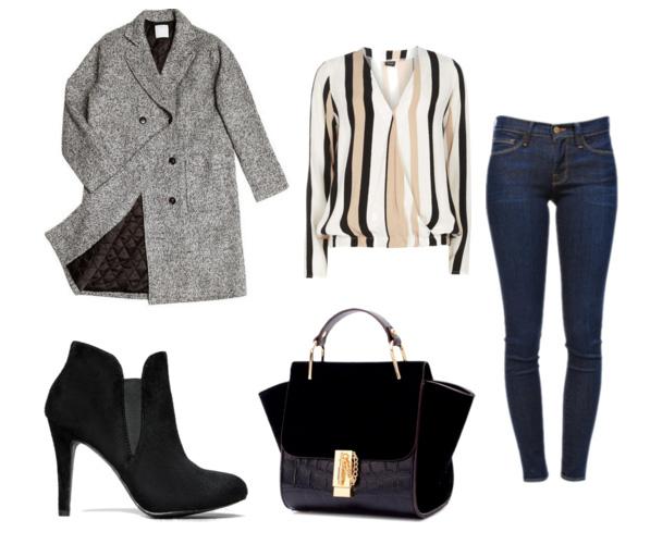 сеты весна 2016 - джинсы и классическое серое пальто