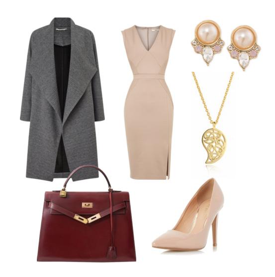 сеты весна 2016 - платье бежевого цвета и классическое пальто