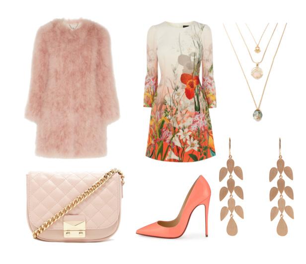 сеты весна 2016 - платье с цветочным принтом, сумка на цепочке, пастельные тона