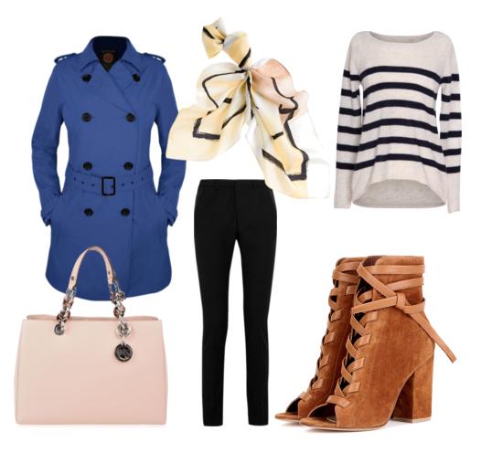 Тренч, свитер, джинсы и ботильоны
