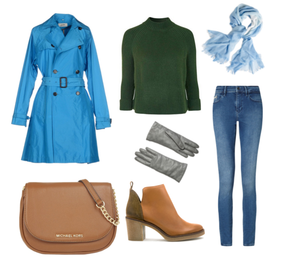 с чем носить синий тренч - джинсы кэжуал