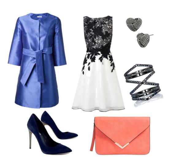 с чем носить синий тренч - нарядное платье