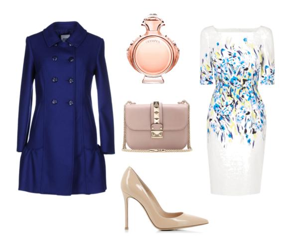 с чем носить синий тренч - платье с цветочным принтом