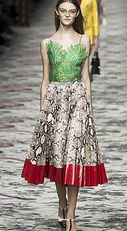 модные женские юбки лето 2016 - юбка миди из ткани с принтом