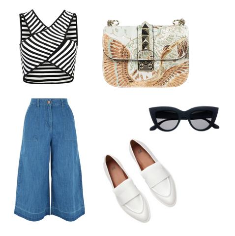 модные сеты 2016, образы на лето - брюки карго и топ вполоску