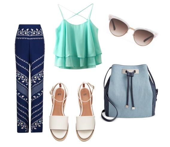 модные сеты 2016, образы на лето - брюки, топ, сандалии