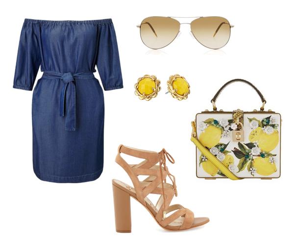 модные сеты 2016, образы на лето - джинсовое платье