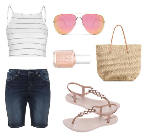 модные сеты 2016, образы на лето - джинсовые шорты, топ и сандалии