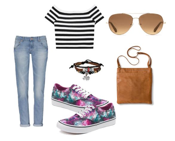 модные сеты 2016, образы на лето - джинсы, топ и кроссовки
