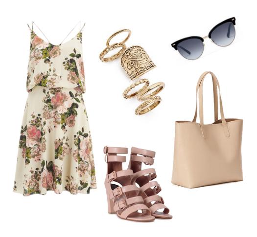 модные сеты 2016, образы на лето - платье с цветочным принтом и обувь