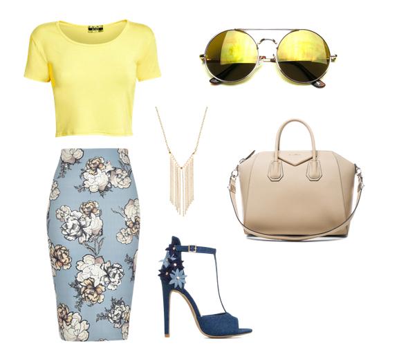 модные сеты 2016, образы на лето - юбка карандаш, топ, солнечные очки