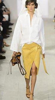 модные юбки лето 2016 - юбка миди желтого цвета с разрезом