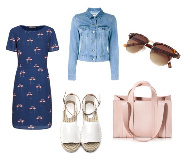 модные сеты одежды на лето 2016 - платье и джинсовая куртка