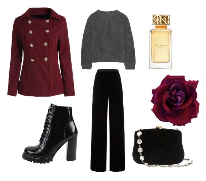 модный сет, стиль дня, бордовое пальто