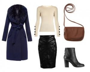модный сет, синее пальто, стиль