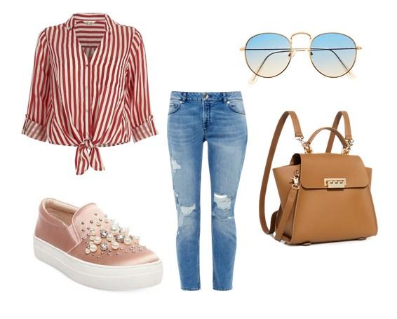 модный сет весна 2017 - джинсы и блузка