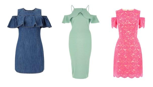 платья с открытыми плечами - мода лето 2017