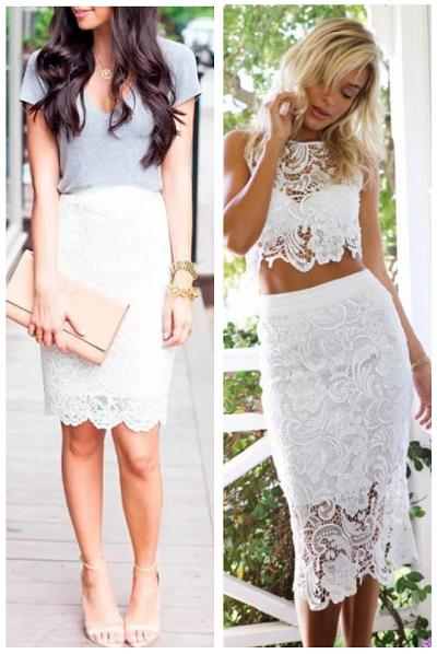 белая кружевная юбка, с чем носить