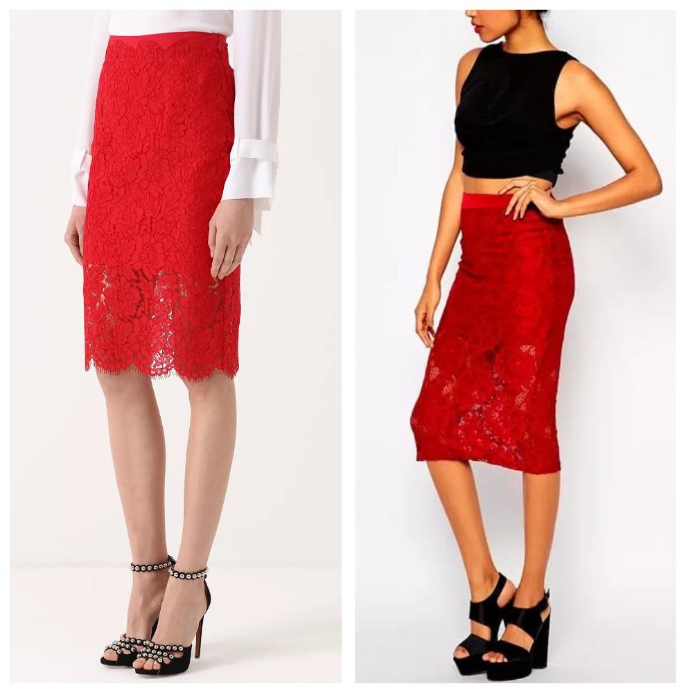 красная кружевная юбка карандаш