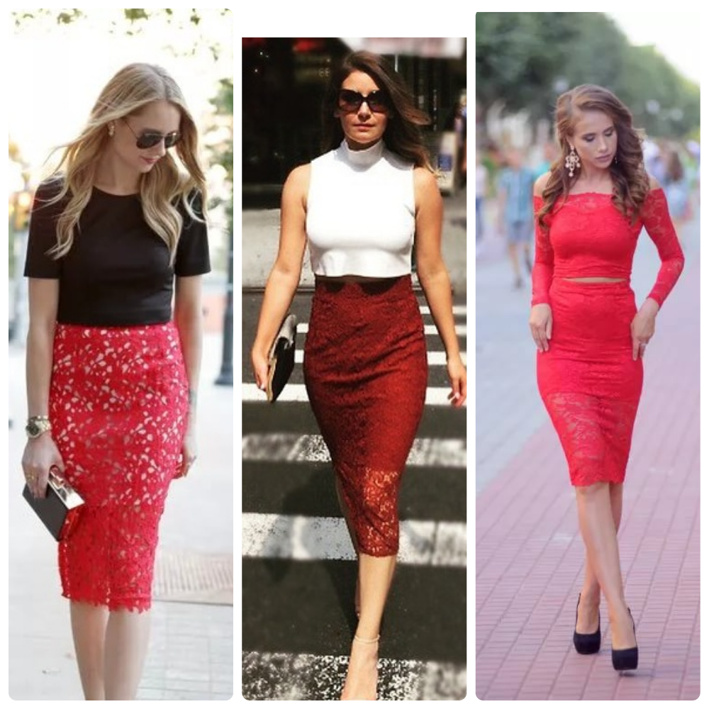 красная кружевная юбка, с чем носить