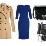 Бежевый тренч и синее платье