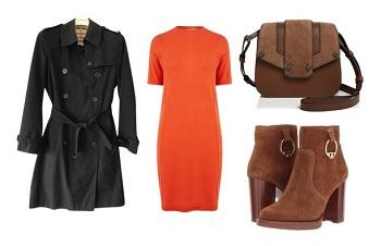 Классический черный тренч и яркое платье