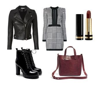 Кожаная куртка и платье в деловом стиле