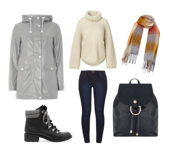 Модная парка, джинсы и уютный джемпер