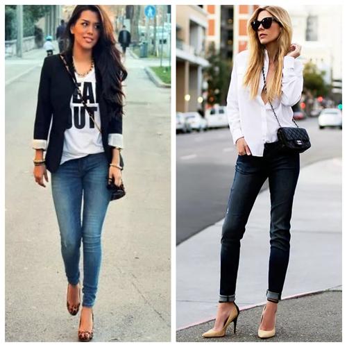 джинсы скинни и белый топ