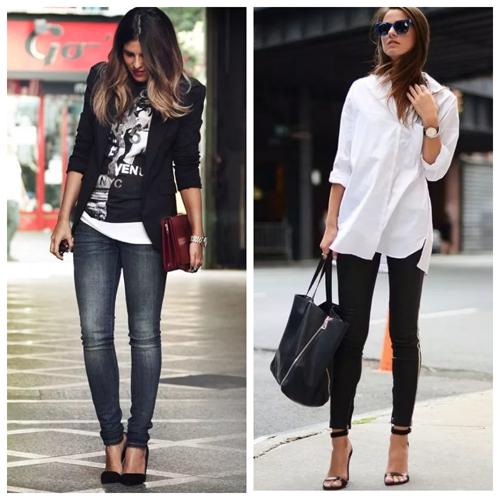 джинсы скинни и блуза