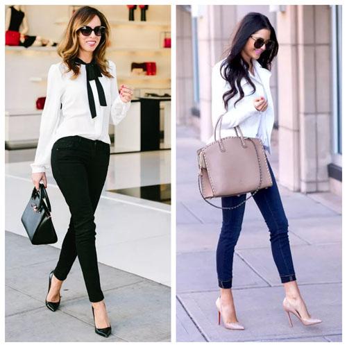 джинсы скинни, строгий образ для офиса