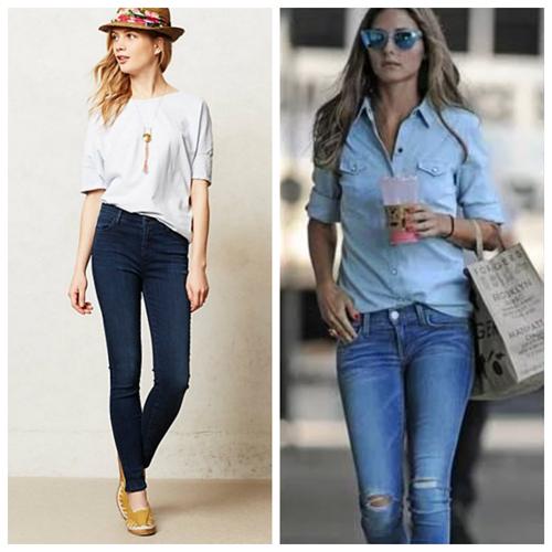 синие джинсы скинни, мода и стиль