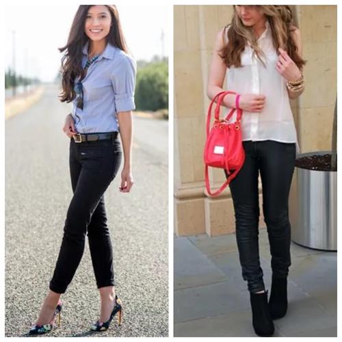 черные джинсы скинни, повседневный образ