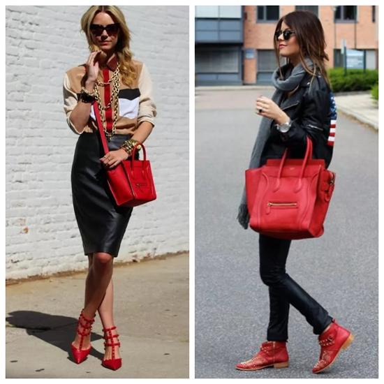 e70ca4c7bdf4 Сочетание красных туфель и красной сумки по-прежнему выглядит эффектно.  Здесь есть одно но: не стоит сочетать такую сумку и красные сапоги.