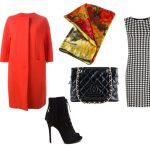 Красное пальто и платье-футляр