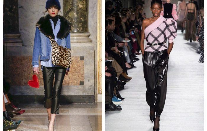 модные кожаные брюки, с чем носить осенью, фото